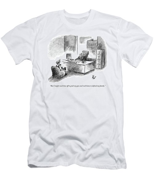 A Man Is Sitting Behind A Desk Talking To A Man Men's T-Shirt (Athletic Fit)