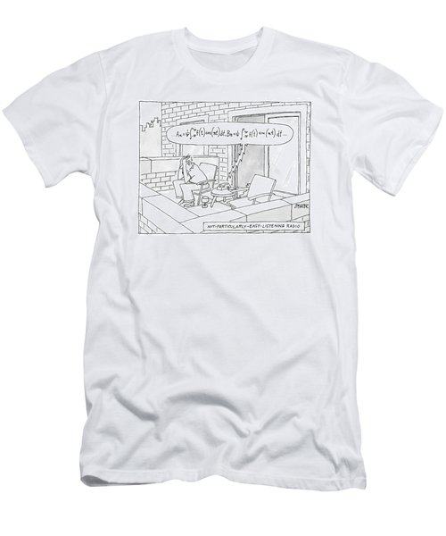 A Man, Looking Very Stressed, Is Listening Men's T-Shirt (Athletic Fit)