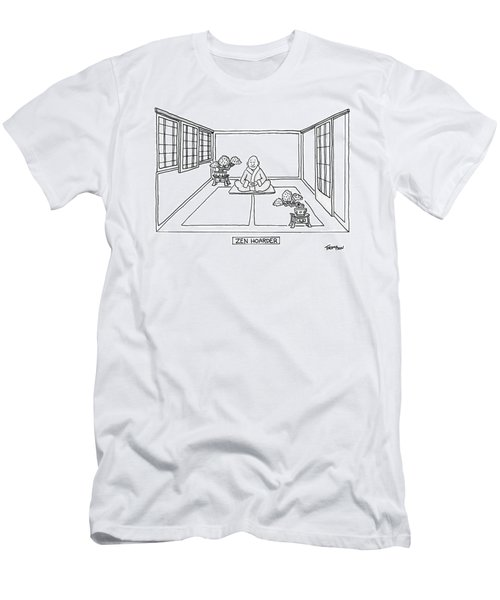 A Man Meditates In The Middle Of A Sparse Room Men's T-Shirt (Athletic Fit)