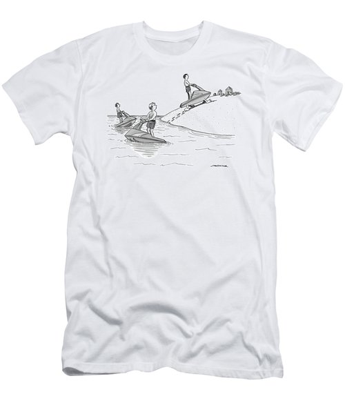 A Man On A Jetski Looks At Another Man Men's T-Shirt (Athletic Fit)
