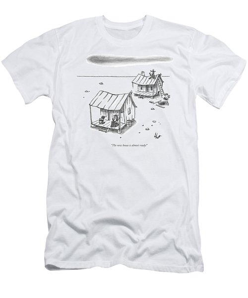 A Man On Top Of A Shack With A Ladder Men's T-Shirt (Athletic Fit)