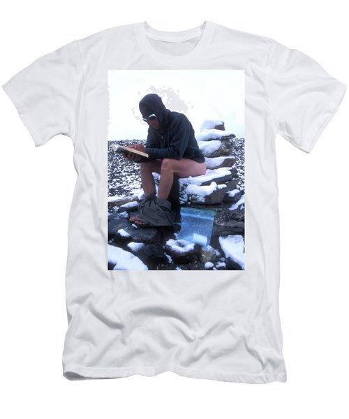 A Man Reads While Using A Snow-covered Men's T-Shirt (Athletic Fit)