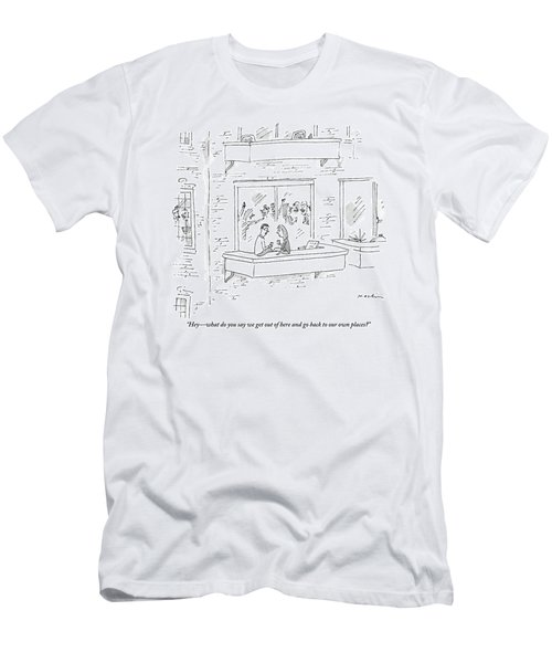 A Man Says To A Woman On The Terrace Men's T-Shirt (Athletic Fit)