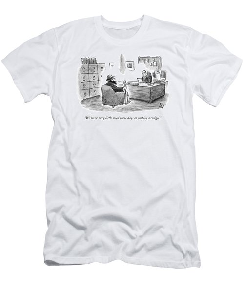 A Man Sits Across From A Personnel Desk Men's T-Shirt (Athletic Fit)