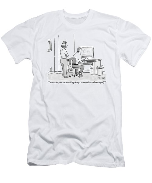 A Man Sits In Front Of His Computer. His Wife Or Men's T-Shirt (Athletic Fit)
