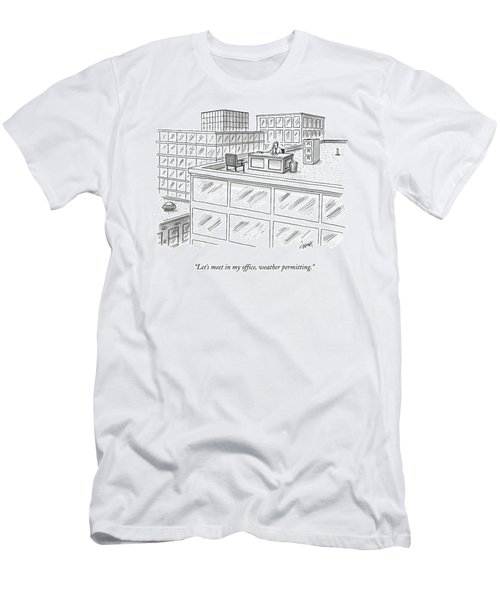 A Man Sits On The Roof Of A Building Men's T-Shirt (Athletic Fit)