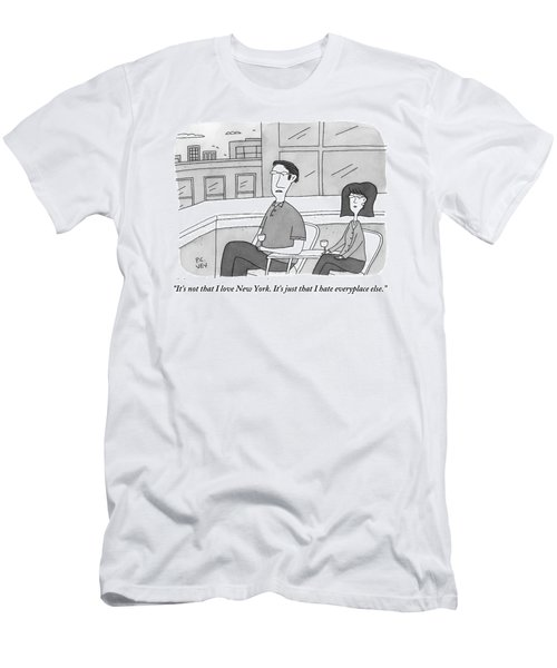 A Man Speaks To A Woman On A Balcony In The City Men's T-Shirt (Athletic Fit)