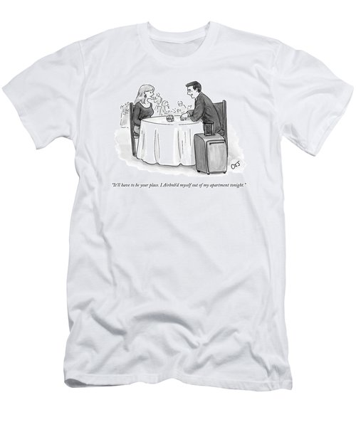 A Man Speaks To A Woman On A Date At A Restaurant Men's T-Shirt (Athletic Fit)