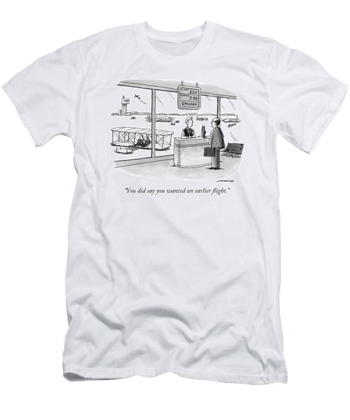 A Man Speaks To An Airport Attendant Men's T-Shirt (Athletic Fit)