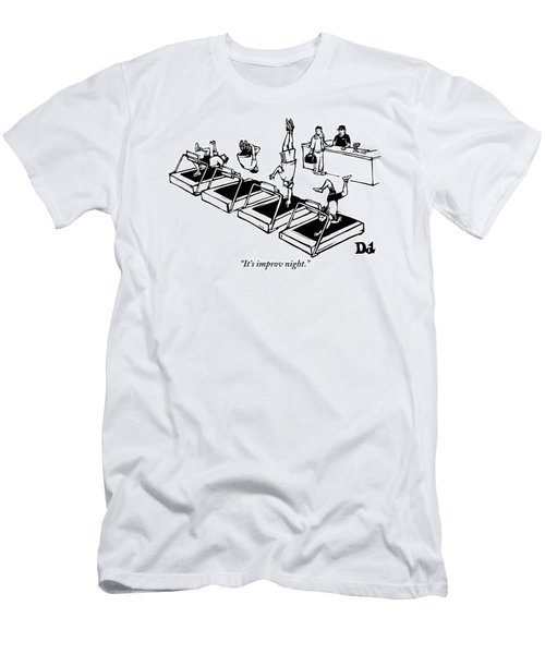 A Man Stands At The Desk Of A Gym. Four People Men's T-Shirt (Athletic Fit)