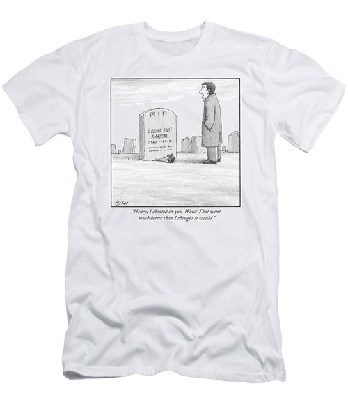 A Man Stands In Front Of A Woman's Tombstone Men's T-Shirt (Athletic Fit)