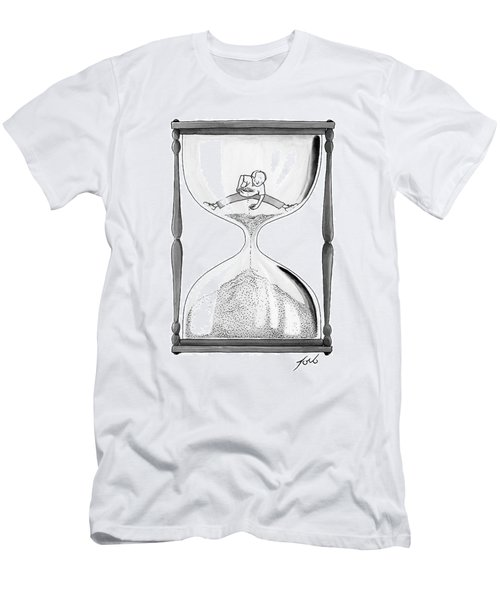 A Man Stands In The Top Half Of An Hourglass Men's T-Shirt (Athletic Fit)