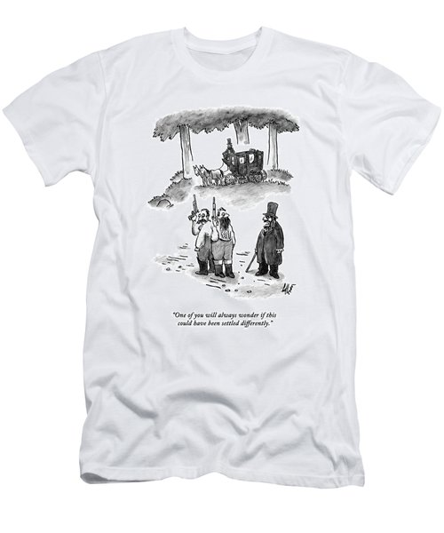 A Man Talks To Two Men Who Are About To Duel Men's T-Shirt (Athletic Fit)