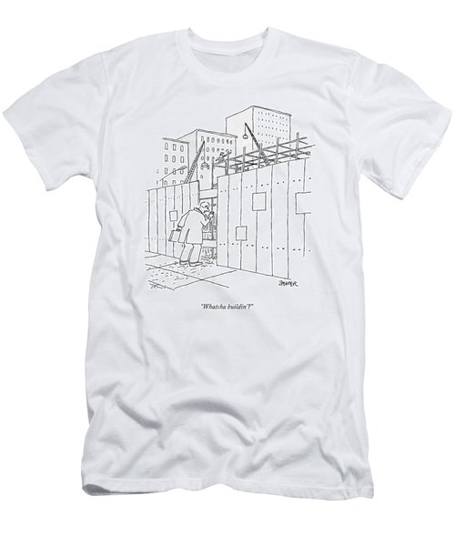 A Man With A Briefcase Looks Downwards Men's T-Shirt (Athletic Fit)