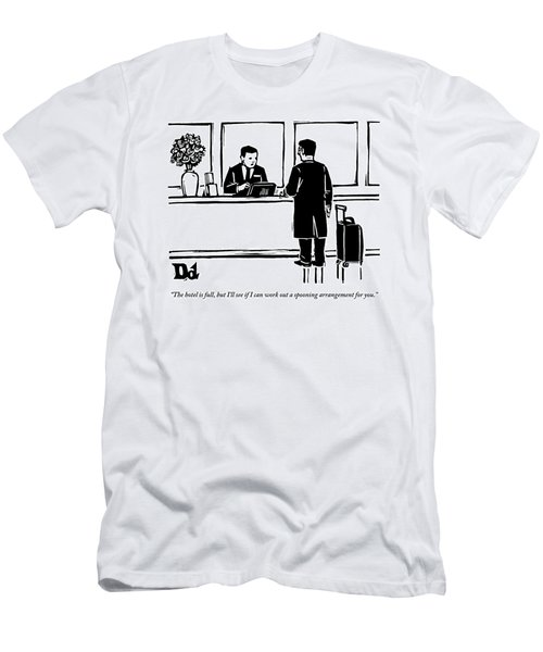 A Man With A Suitcase On Wheels Is Speaking Men's T-Shirt (Athletic Fit)