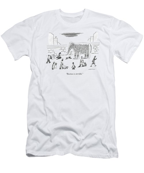 A Man With An Elephant Speaks On The Phone Men's T-Shirt (Athletic Fit)