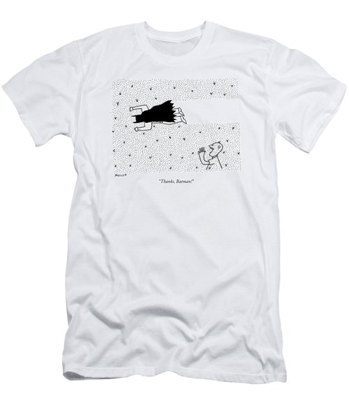 A Man Yells To Batman Who Is Eating Thousands Men's T-Shirt (Athletic Fit)
