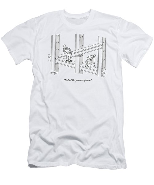 A Men Works On The Sky Scraper  Beams Men's T-Shirt (Athletic Fit)