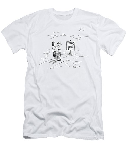 A Middle-aged Couple Stand At A Road Sign Men's T-Shirt (Athletic Fit)