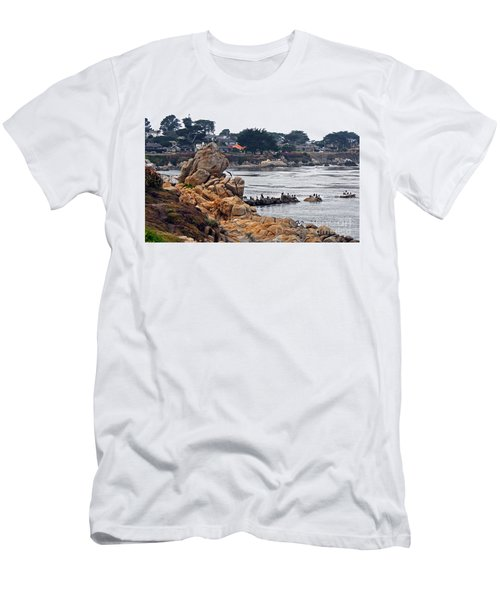 Men's T-Shirt (Slim Fit) featuring the photograph A Misty Day At Pacific Grove by Susan Wiedmann