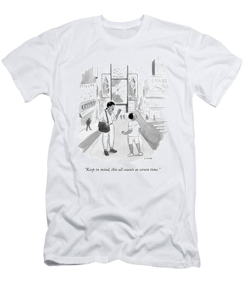 A Mom Says To Her Enraptured Son In Times Square Men's T-Shirt (Athletic Fit)