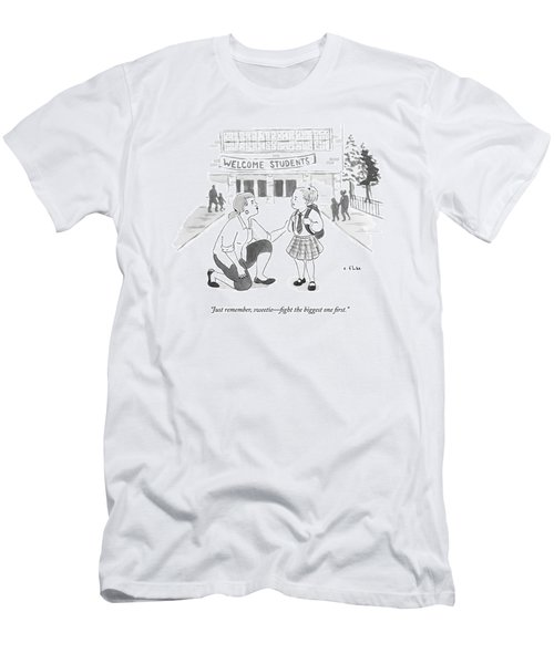 A Mother Advises Her Young Daughter On The First Men's T-Shirt (Athletic Fit)