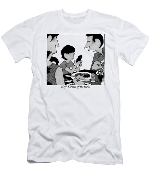 A Mother, Father And Son At Family Dinner Men's T-Shirt (Athletic Fit)