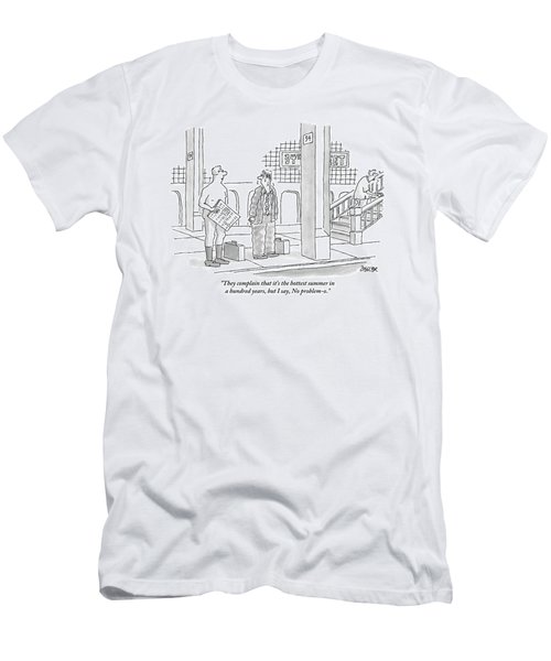 A Naked Businessman Speaks To A Sweaty Man Men's T-Shirt (Athletic Fit)
