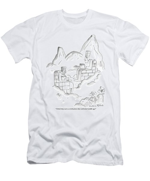 A Pair Of Sightseers Admire Ancient Statues That Men's T-Shirt (Athletic Fit)