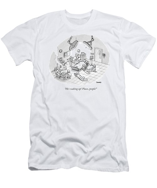A Patient Sleeps In A Hospital Room Men's T-Shirt (Athletic Fit)