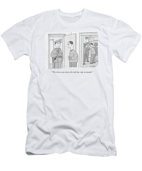 A Policeman With A Martini Glass Stands Men's T-Shirt (Athletic Fit)