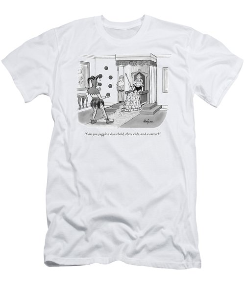 A Queen Talks To A Juggling Court Jester Men's T-Shirt (Athletic Fit)