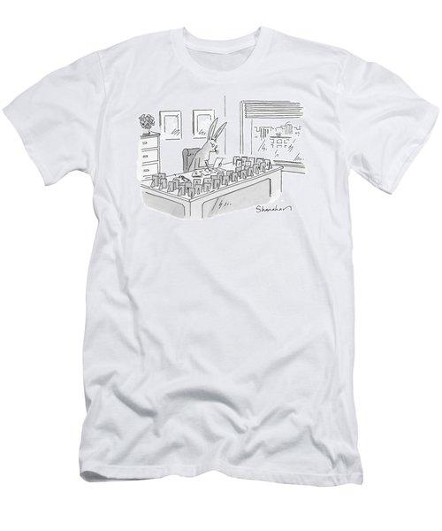 A Rabbit Sits At An Office Desk Men's T-Shirt (Athletic Fit)