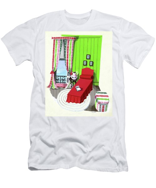 A Red Bed In A Bedroom Men's T-Shirt (Athletic Fit)