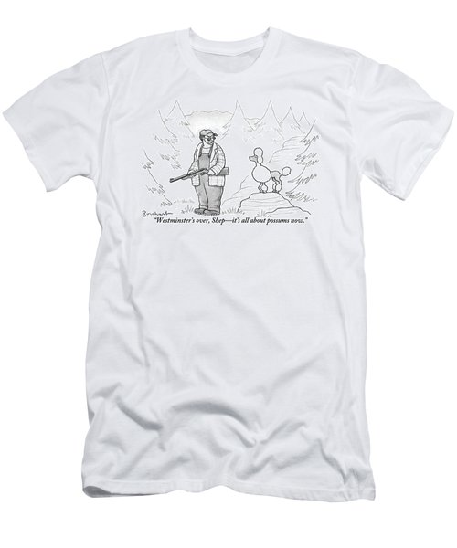 A Rough-looking Man Holding A Shotgun Speaks Men's T-Shirt (Athletic Fit)