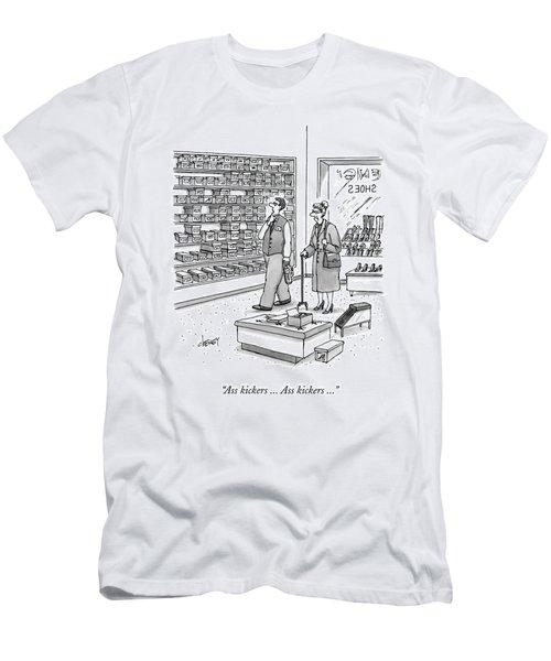 A Shoe Salesman Browses The Selection Of Shoes Men's T-Shirt (Athletic Fit)