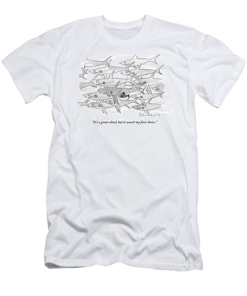 A Smaller Fish Is Talking To Other Larger Fish Men's T-Shirt (Athletic Fit)