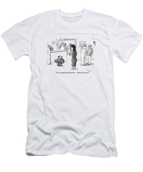 A Squashed, Accordion-like Man Speaks Men's T-Shirt (Athletic Fit)