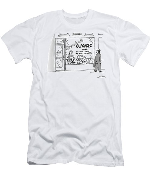A Storefront Reads: Grandma's Cupcakes Men's T-Shirt (Athletic Fit)