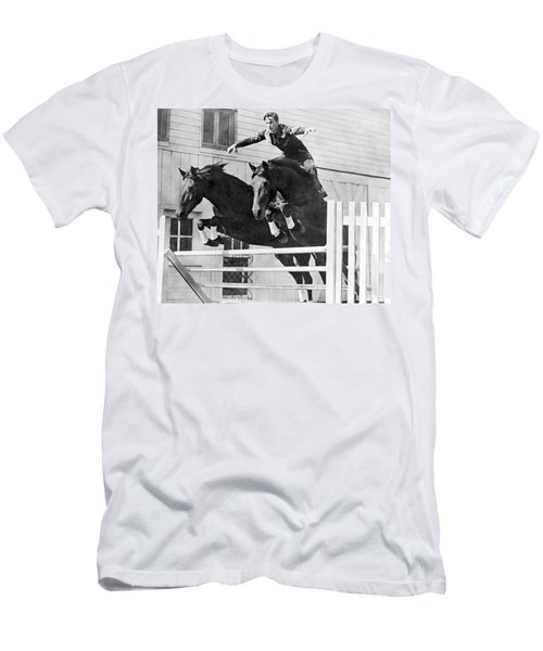 A Stunt Rider On Two Horses. Men's T-Shirt (Athletic Fit)