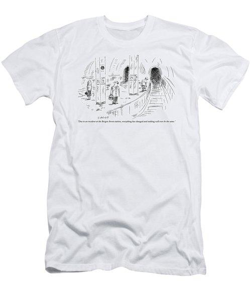 A Subway Rider Hears A Subway Announcement Men's T-Shirt (Athletic Fit)