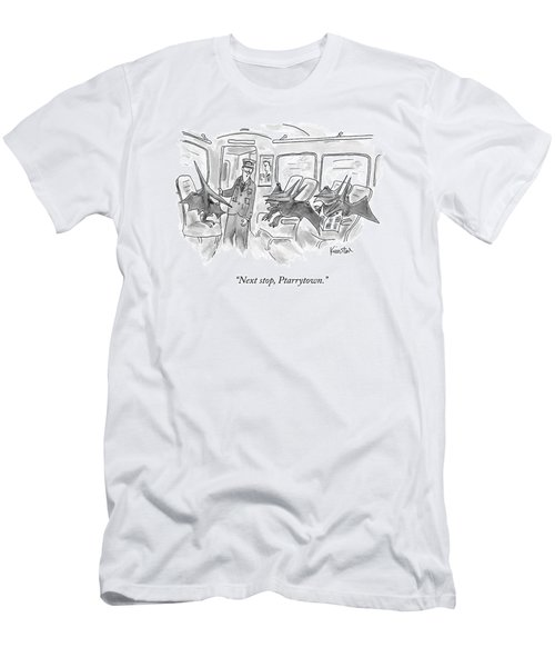 A Train Conductor Makes An Announcement To A Car Men's T-Shirt (Athletic Fit)