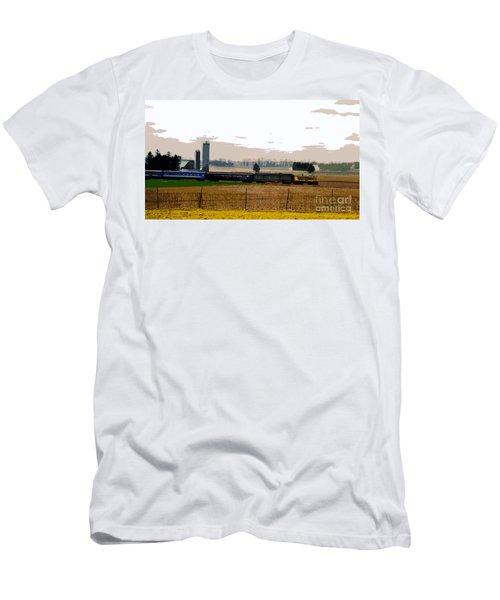 Men's T-Shirt (Slim Fit) featuring the photograph A Train Runs Through It by Nina Silver