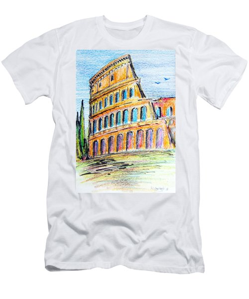 A View Of The Colosseo In Rome Men's T-Shirt (Slim Fit) by Roberto Gagliardi