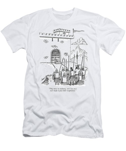 A Viking Army Stands Before A Castle Gate Where Men's T-Shirt (Athletic Fit)