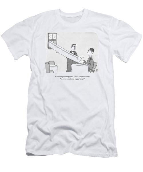 A Waiter Holds A Large Chute Over A Man's Plate Men's T-Shirt (Athletic Fit)