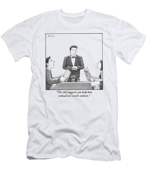 A Waiter Makes A Suggestion To A Man And Woman Men's T-Shirt (Athletic Fit)