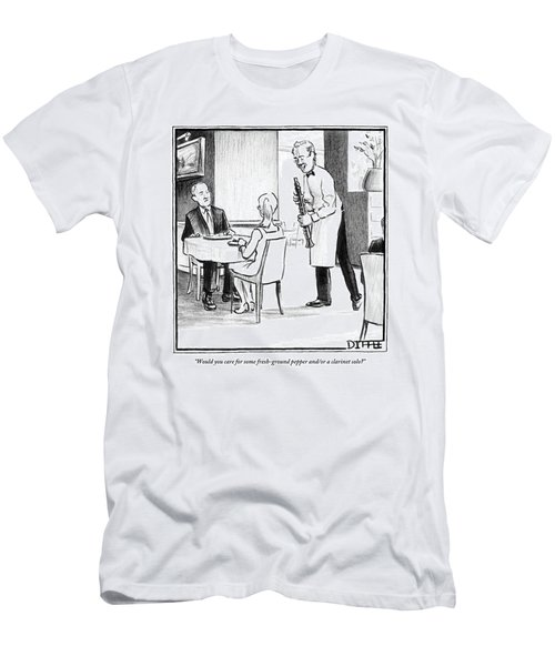 A Waiter Offers Pepper To Two Patrons. His Pepper Men's T-Shirt (Athletic Fit)