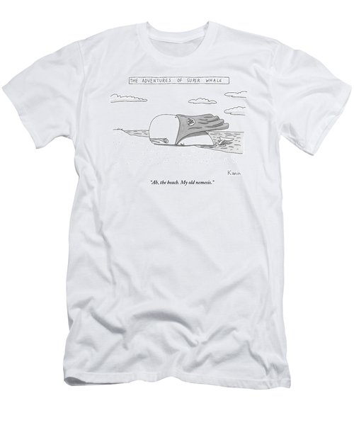A Whale In A Cape Is Laying On A Beach Men's T-Shirt (Athletic Fit)