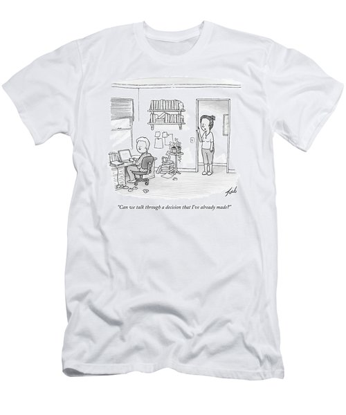 A Woman Addresses Her Husband In His Home Office Men's T-Shirt (Athletic Fit)